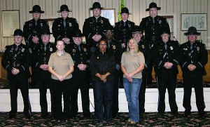 Bottom row l-to-r PCO Jodie Martin, Records Clerk Bernita Downing, PCO Kristin McLaren. Center l-to-r PFC Brian Hirshman, PFC Claude Holland, Lt. Jeffrey Lawson, Chief Arnold Downing, Lt. Robert Fisher, PFC Joseph Kerr, CPL James Seibert. Top l-to-r CPL Michael O'Connor, PFC Jeannine Jerscheid, PFC Edward Carmean, PFC Jessica Collins, PFC Chris Bireley. Not pictured: PFC Jason Burnett, PCO Lisa Purnell, PCO Christine Lyle and K-9 Luke.