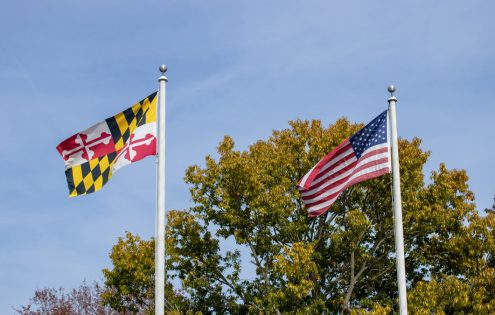 Maryland and USA flags